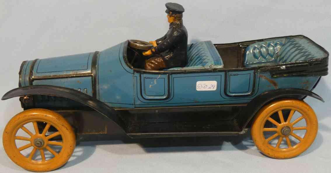 fischer heinrich tin toy car cabriolet with spring mechanism blue
