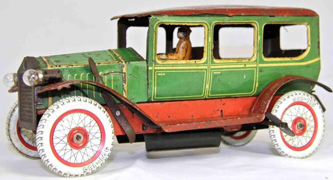 fischer heinrich blech spielzeug auto limousine mit uhrwerkantrieb in grün und rot mit weißen räde