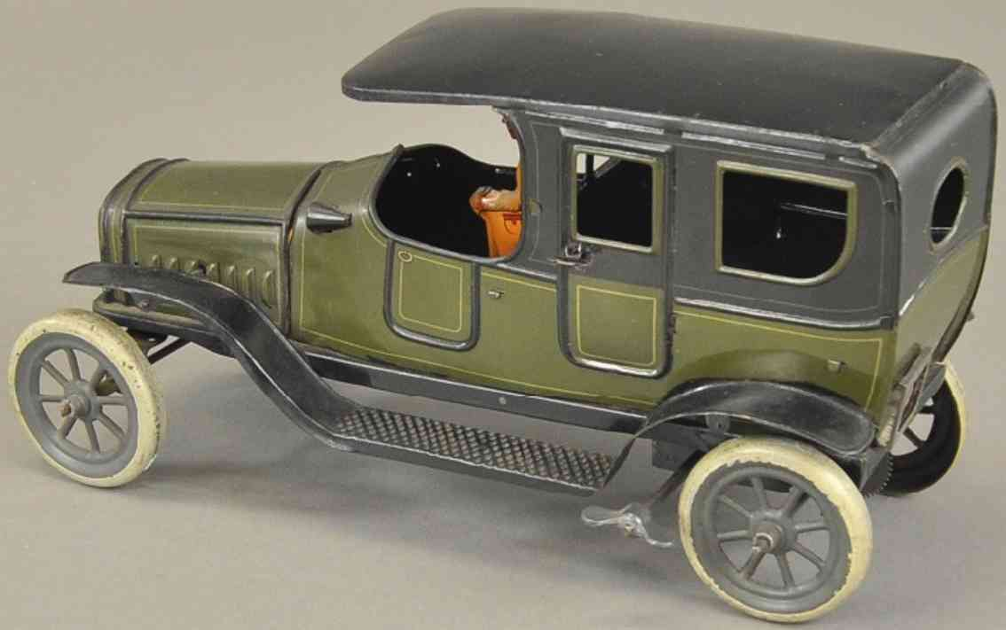 fischer heinrich tin toy car sparking limousine oliv green black