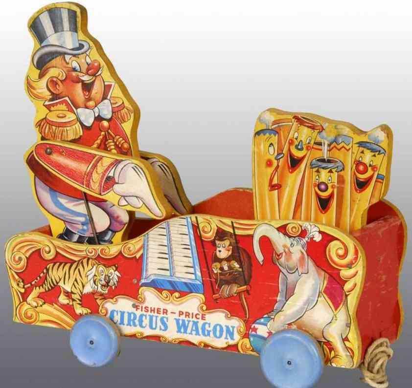fisher-price 156 spielzeug zirkuswagen mit papier auf holz