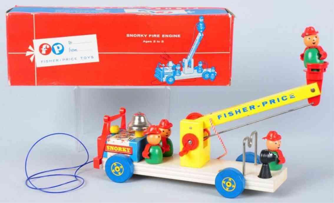 fisher-price 168 holz spielzeug auto snorky feuerwehrwagen