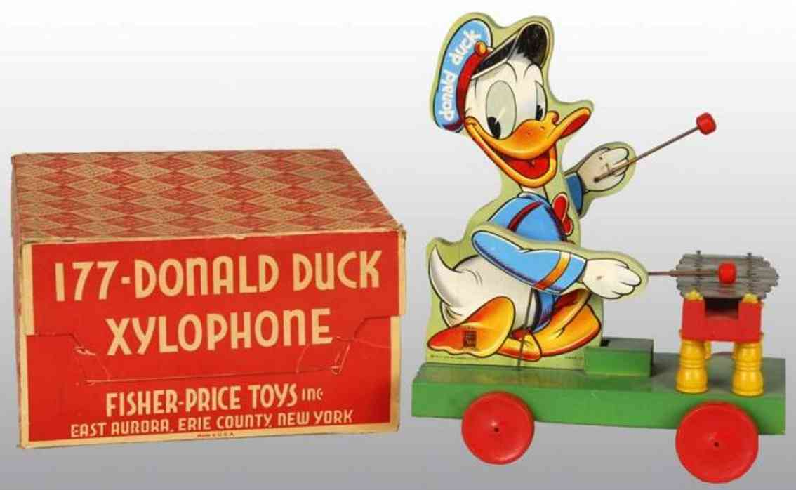 fisher-price 177 holz spielzeug auto donald duck xylophone