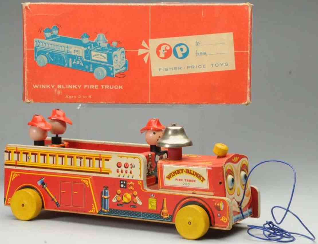 fisher-price 200 wooden toy winky blinky fire truck