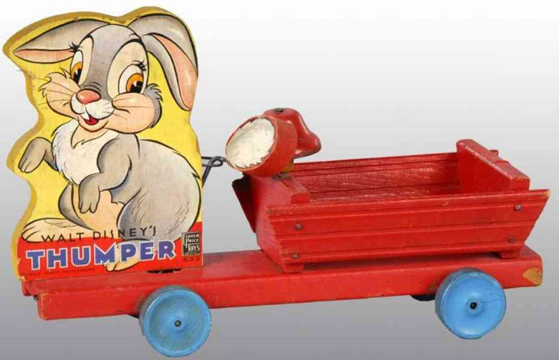 fisher-price 533 holz spielzeug disney thumper wagen mit hasen