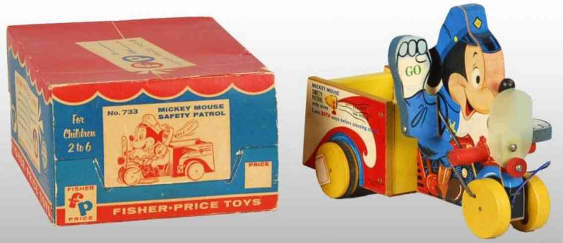 fisher-price 733 wooden toy mickey mouse safety patrol with windshield