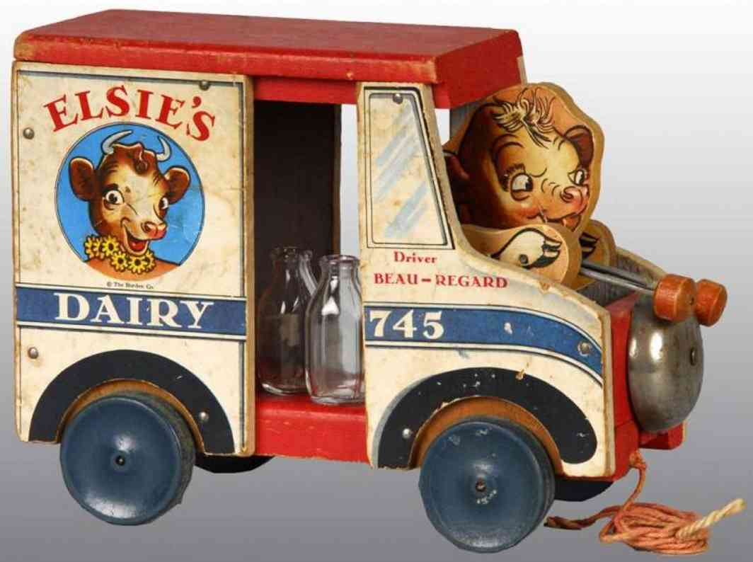 fisher-price 745 wooden toy car elsie's dairy truck toy