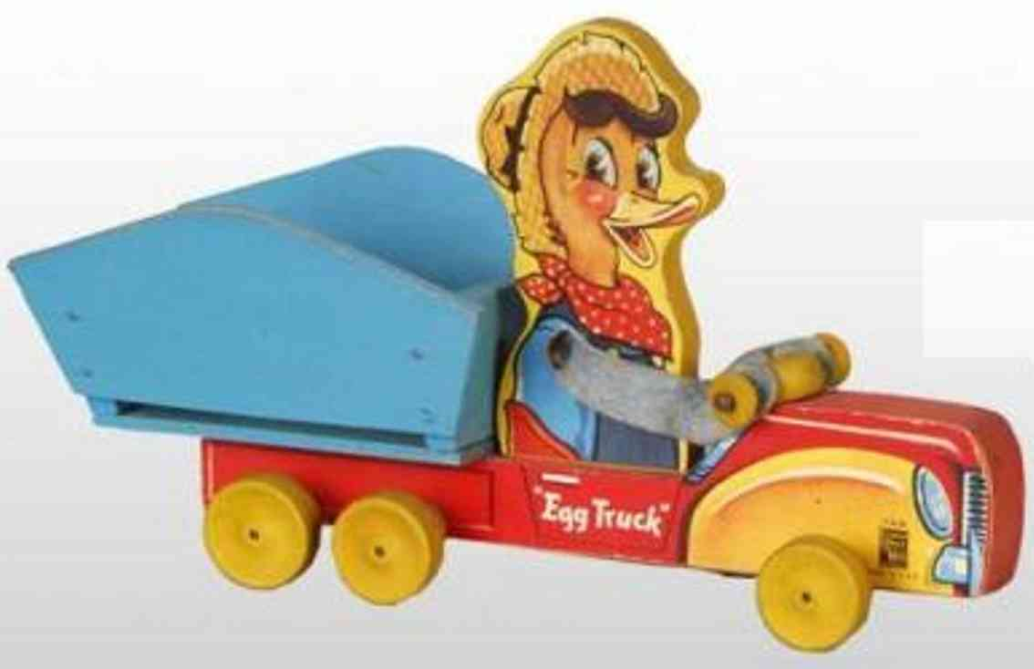 fisher-price 749 wooden toy egg truck toy with chick