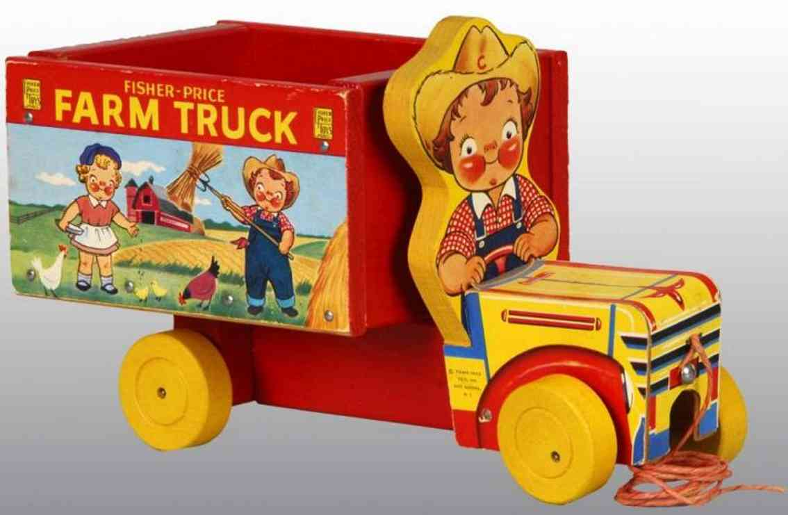fisher-price 845 wooden toy car campbell kids farm truck