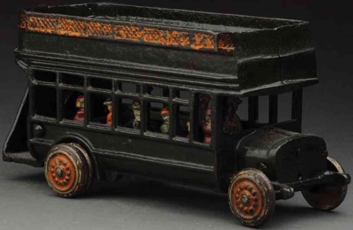 freidag cast iron toy double decker busgreen orange passengers