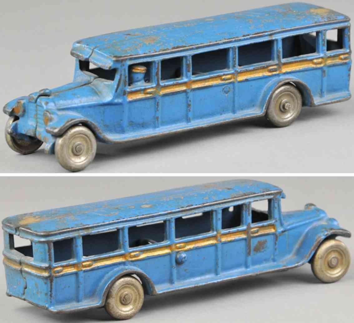 freidag cast iron toy bus blue gold striping
