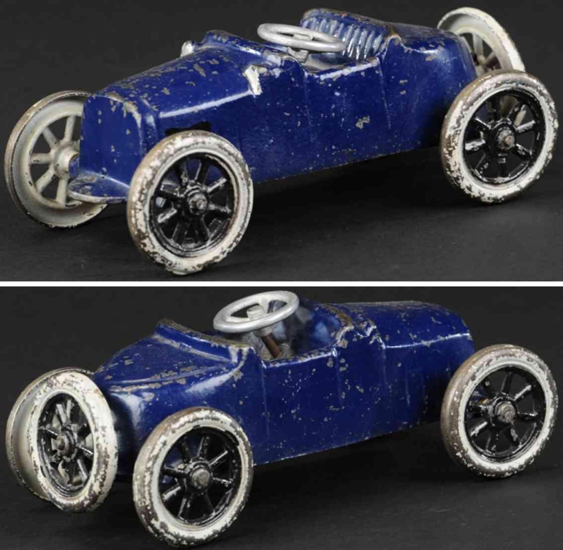 freidag cast iron toy racer car blue