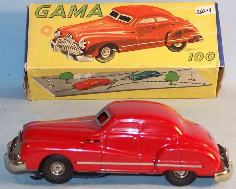 gama 100 blech spielzeug auto wende limousine uhrwerk rot
