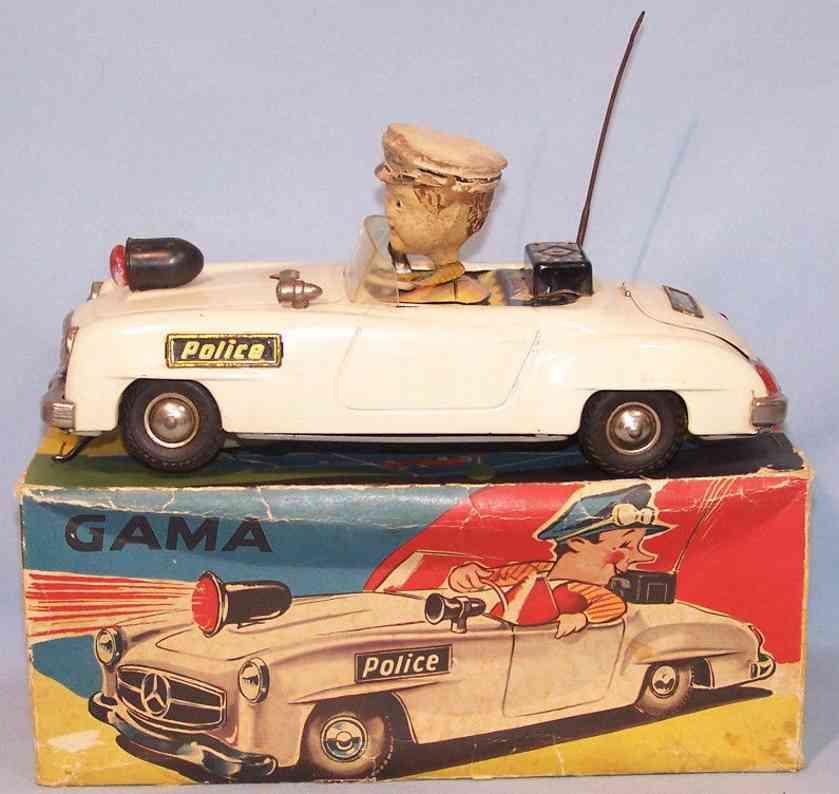 gama 104 blech spielzeug wendeauto police polizei
