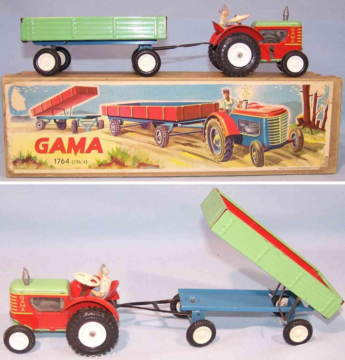 gama 176/4 blech spielzeug traktor mit anhaenger