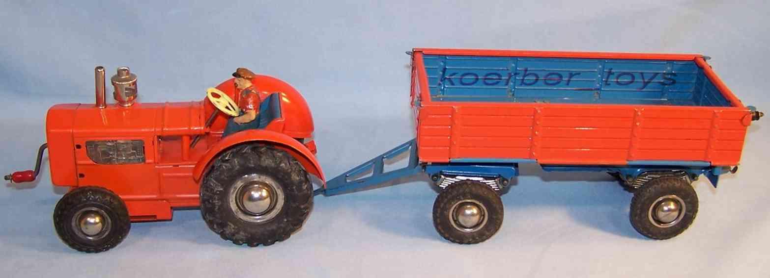 gama 180/4 blech spielzeug traktor gespann rot blau