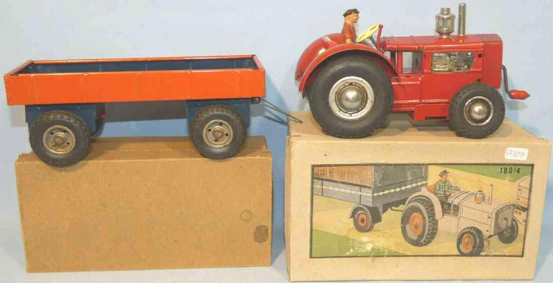 gama 180/4 blech spielzeug traktor mit anhaenger mit kurbelantrieb rot