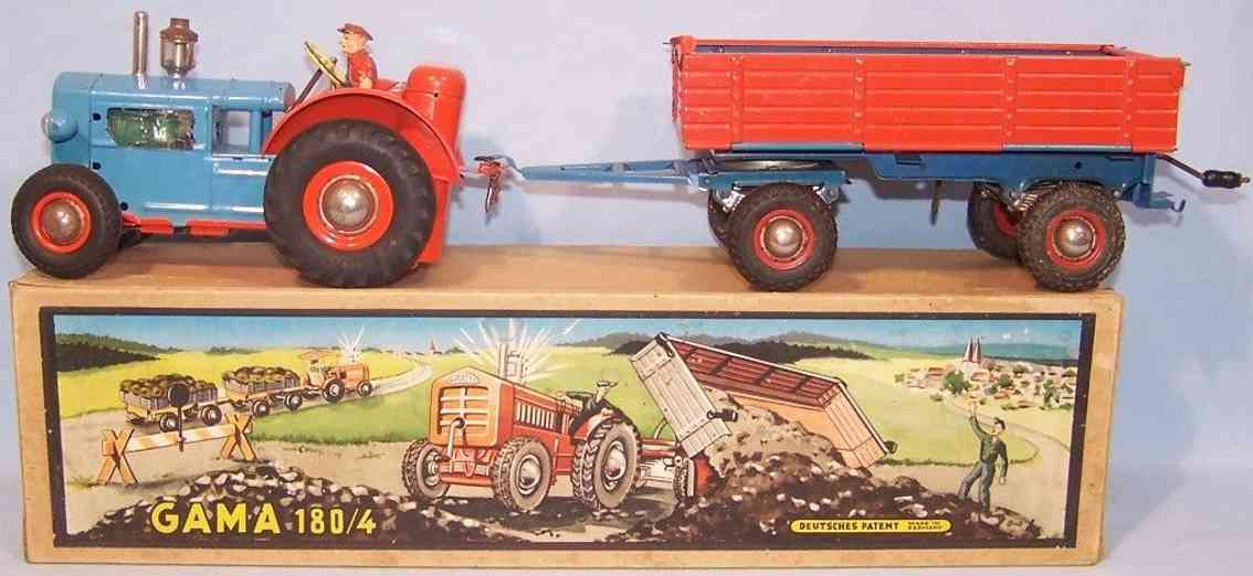 gama 180/4 tin toy tractor team red blue