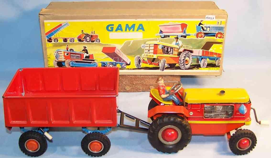 gama 1853 blech spielzeug traktor anhaenger uhrwerk