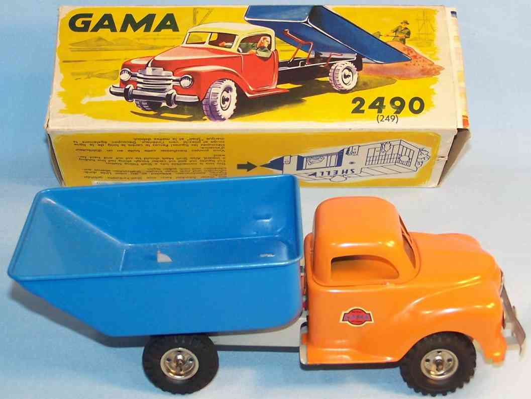 gama 2490  blech spielzeug lastwagen sandwagen mit kippaufbau in orange und blau