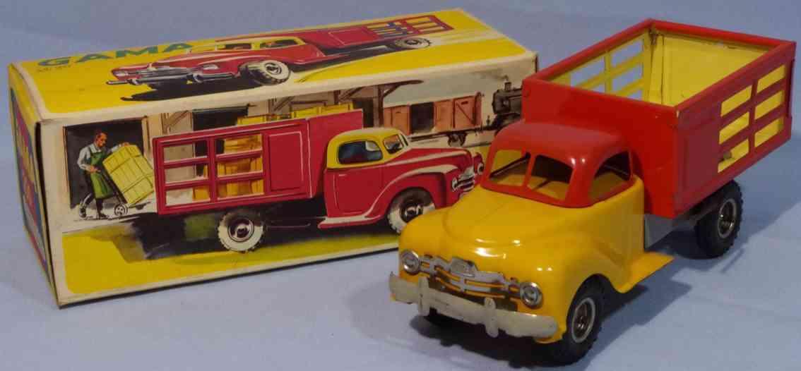 gama 250 tin toy animal transport car sheet metal red yellow
