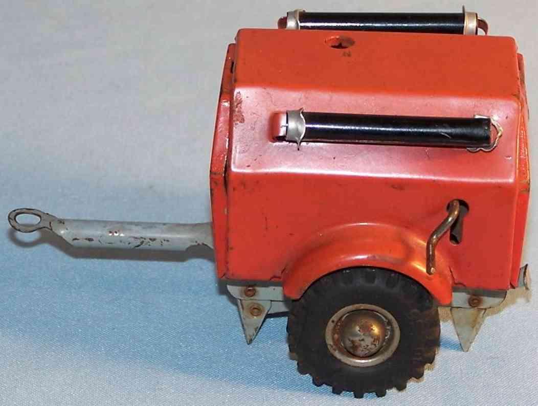 gama 260/1 blech spielzeug feuerwehr löschanhänger für feuerwehr in rot und schwarz, kurbel für s