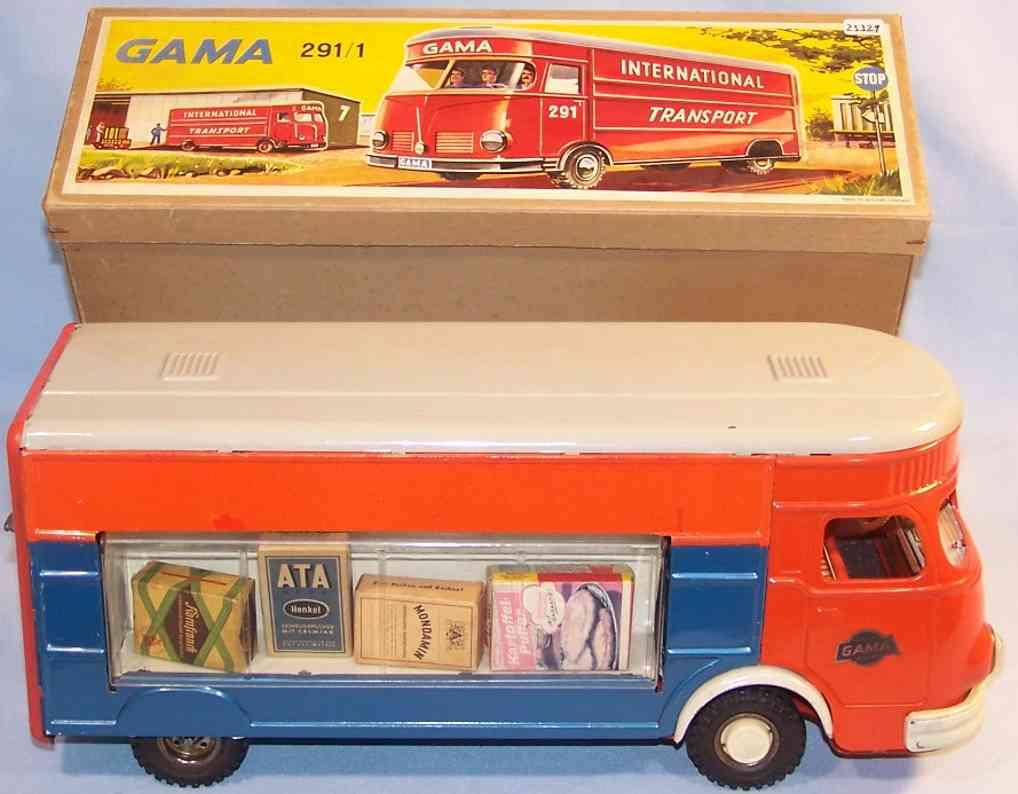 gama 291/1 blech spielzeug lastwagen verkaufswagen mit schwungradantrieb