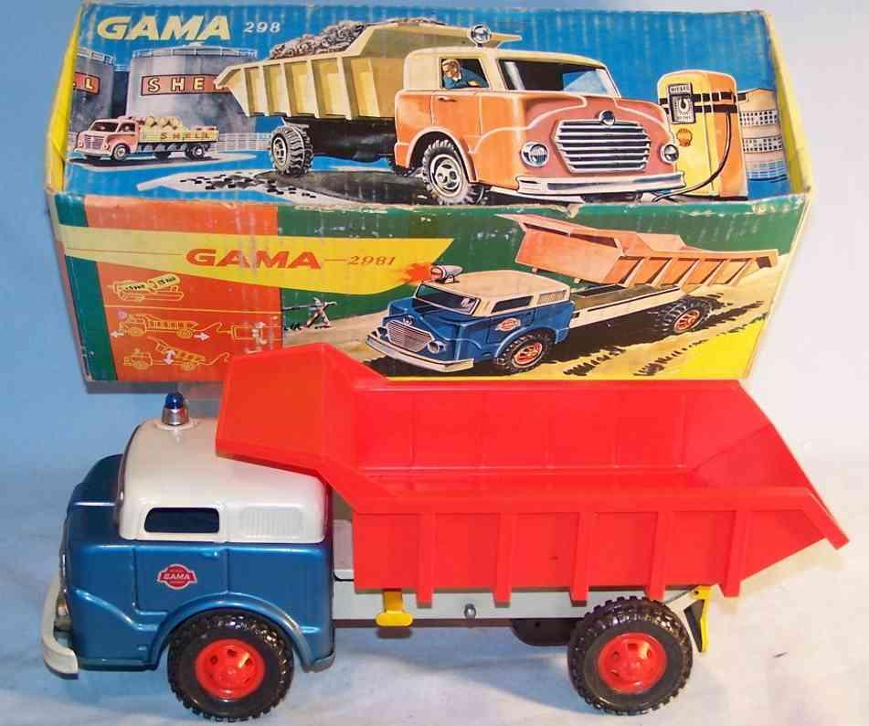 gama 298 spielzeug kipplastwagen aus blech und plastik mit schwungradantrieb