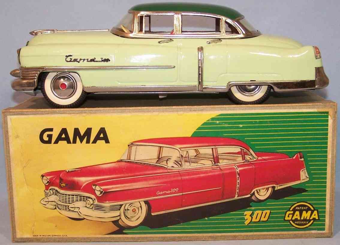 gama 300 blech spielzeug auto cadillac hellgruen schwungradantrieb