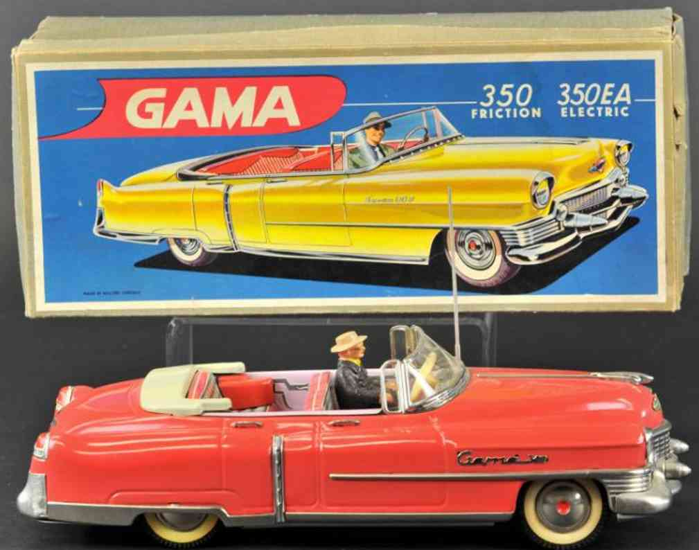 gama 350 ea weissblech spielzeug auto cadillac cabriolet rot