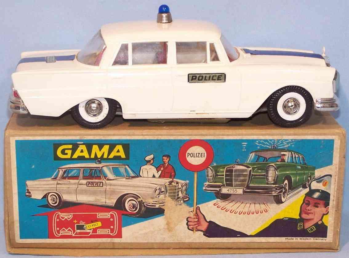gama 475 blech spielzeug mercedes 220s polizeiauto elektroantrrieb