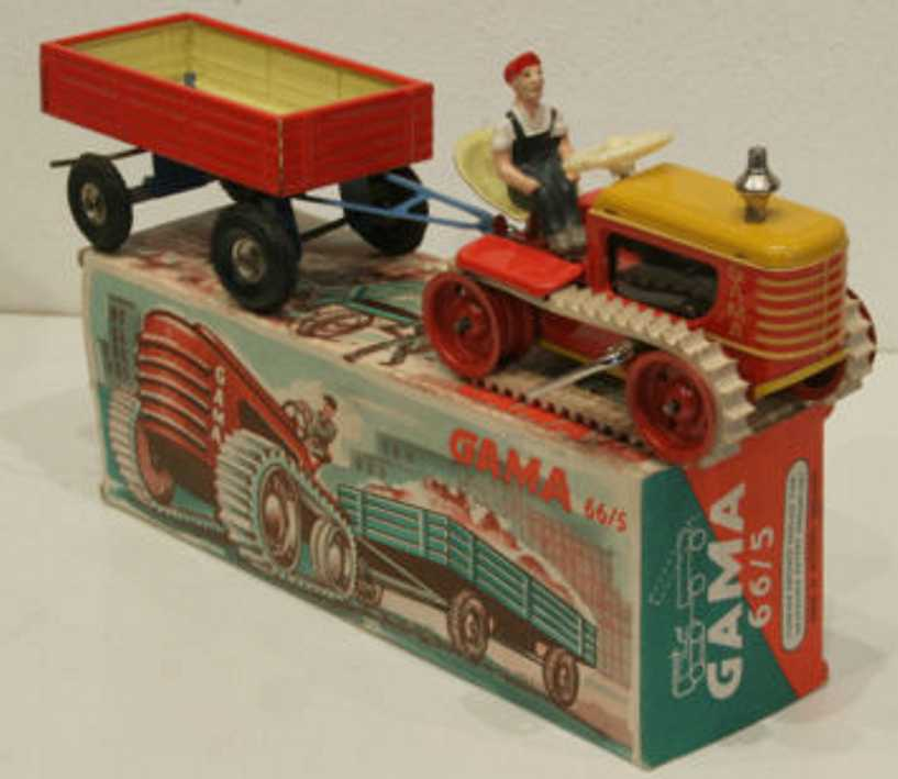 gama 66/5 tin toy caterpillar supporter clockwork