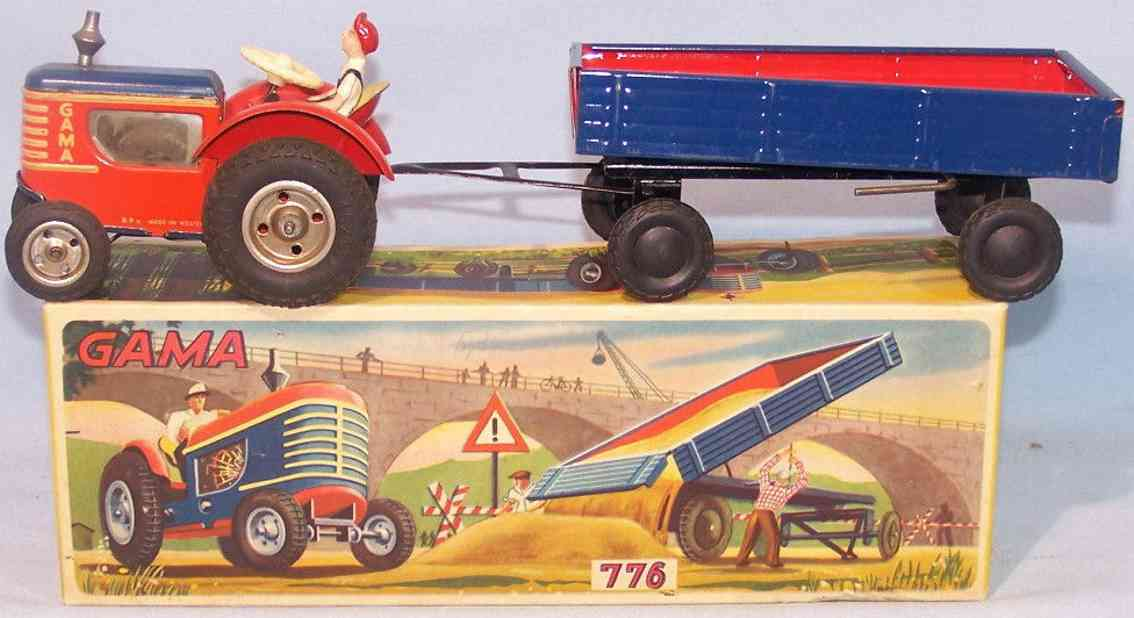 gama 776 tin toy tractor with trailer red blue