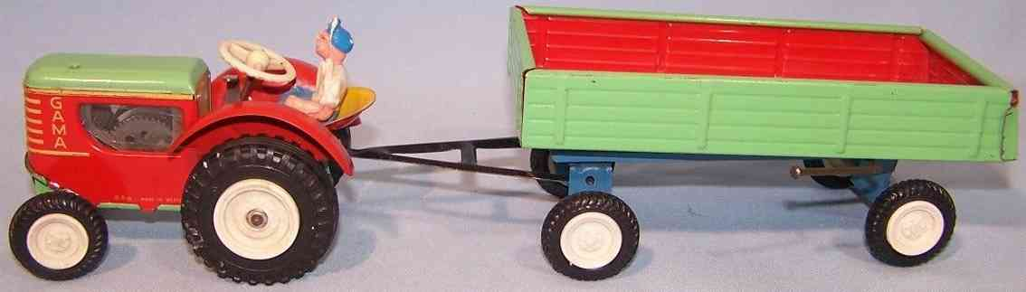 gama 776 tin toy tractor with trailer red green