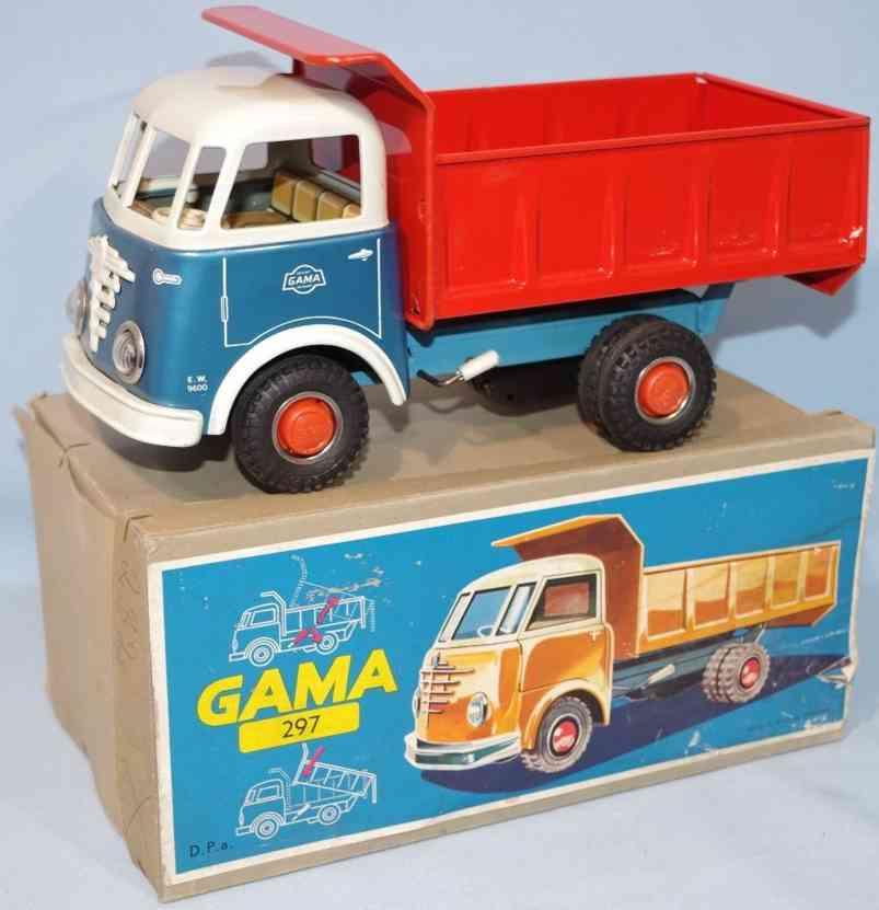 gama blech spielzeug buessing kipplastwagen schwungradantrieb