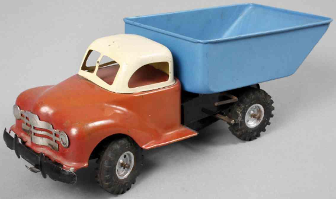 gama blech spielzeug lastwagen kipplastwagen uhrwerk rot crem blau