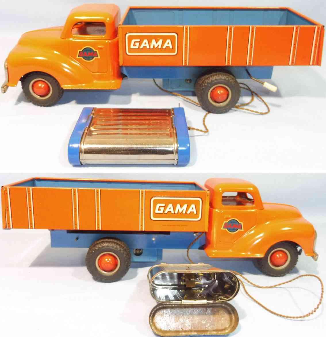 gama blech spielzeug kipplastwagen elektrischer antrieb rot blau