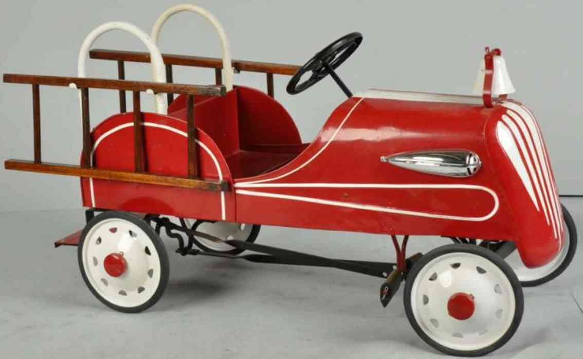 Garton Toy Co Fire pedal car made of pressed steel in red