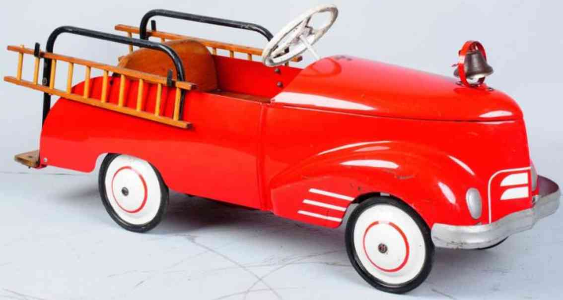 garton toy co toy pedal car pressed steel fire ladder