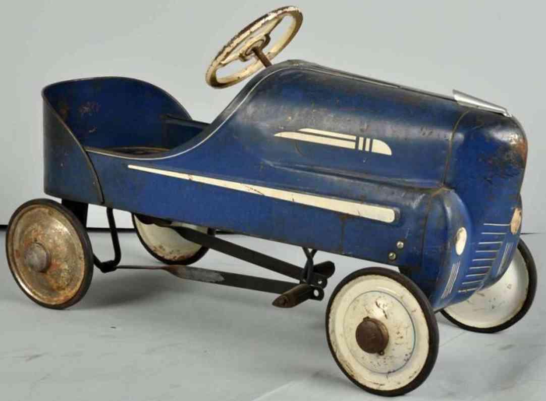 Garton Toy Co Graham Rennwagen Tretauto aus Stahlblech in blau