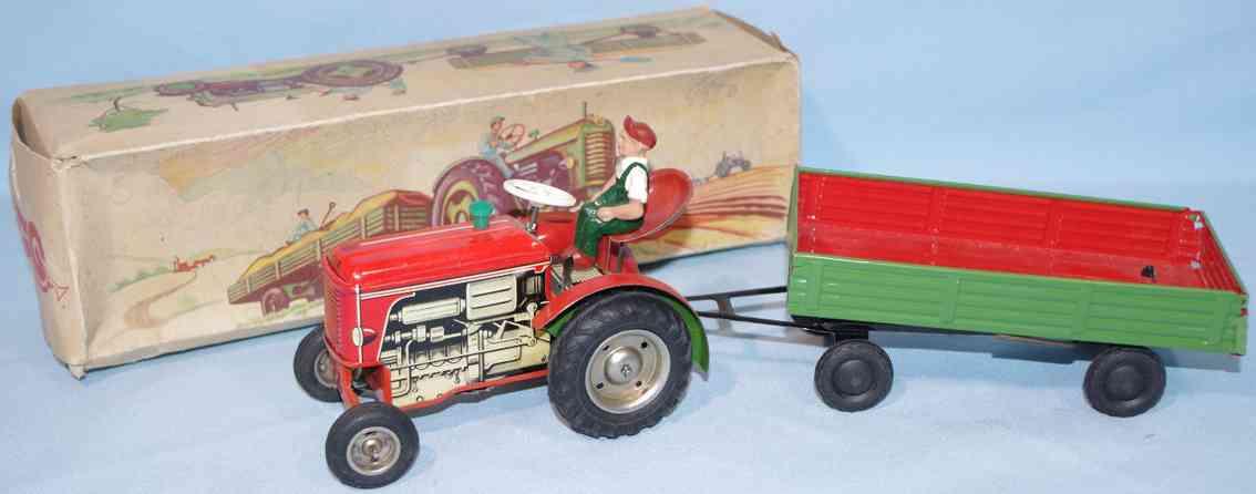 geiger hans 280 blech spielzeug traktor mit anhaenger uhrwerk