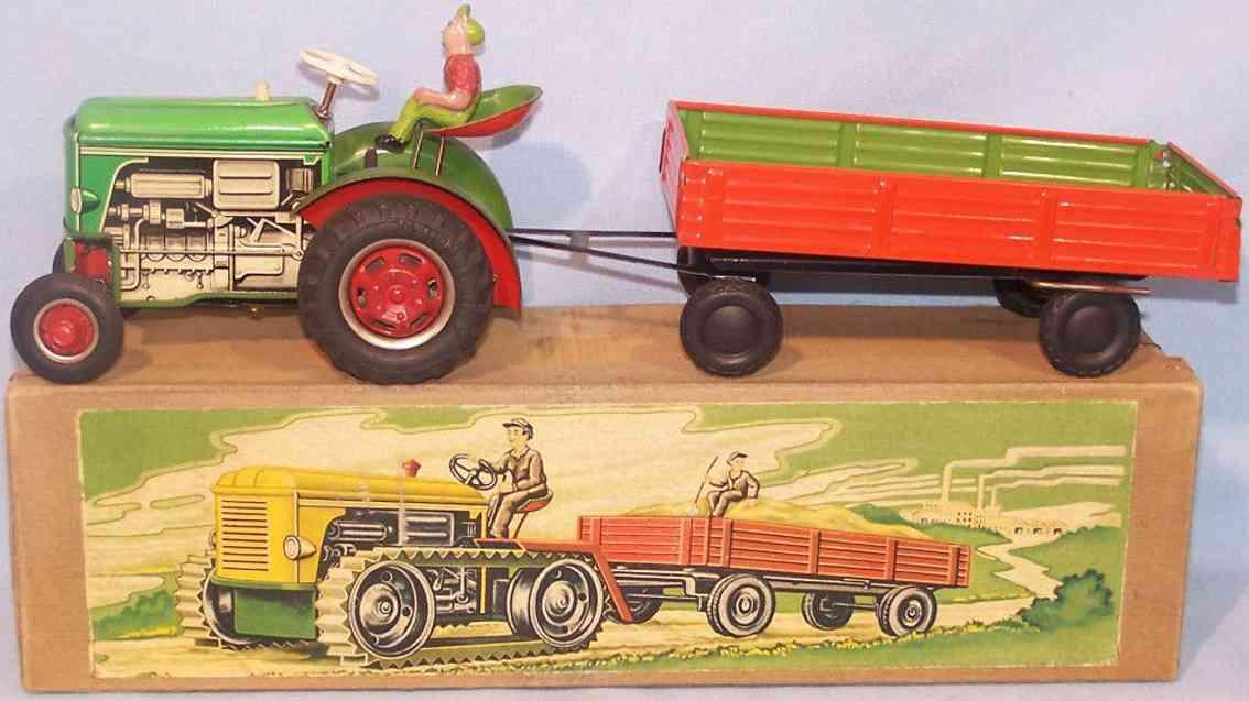 geiger hans blech spielzeug traktor mit anhaenger
