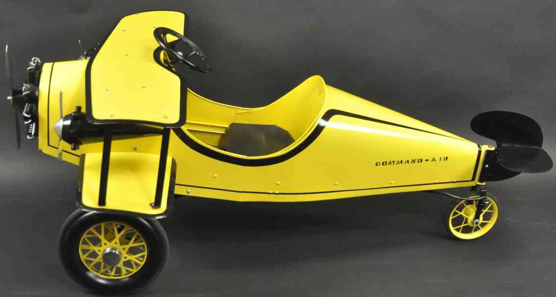 gendron wheel company tin toy airplane as pedal car yellow black command air