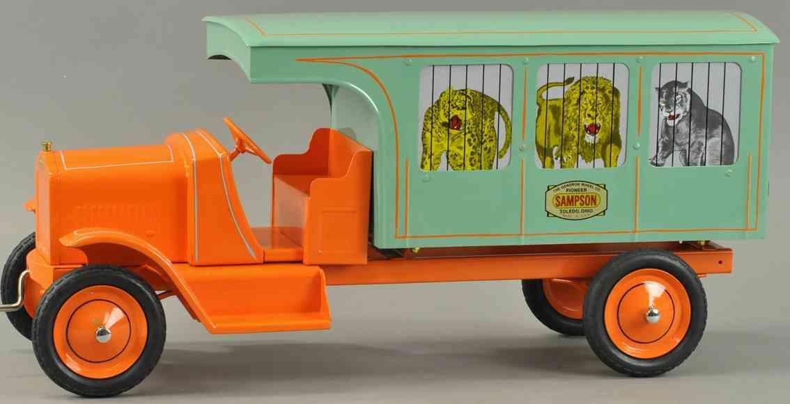 gendron wheel company Sampson circus truck blech spielzeug lastwagen sampson zirkuswagen, schöne farbkombination, mit handkurbel