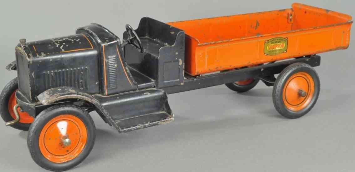 gendron wheel company blech spielzeug kipplastwagen schwarz orange