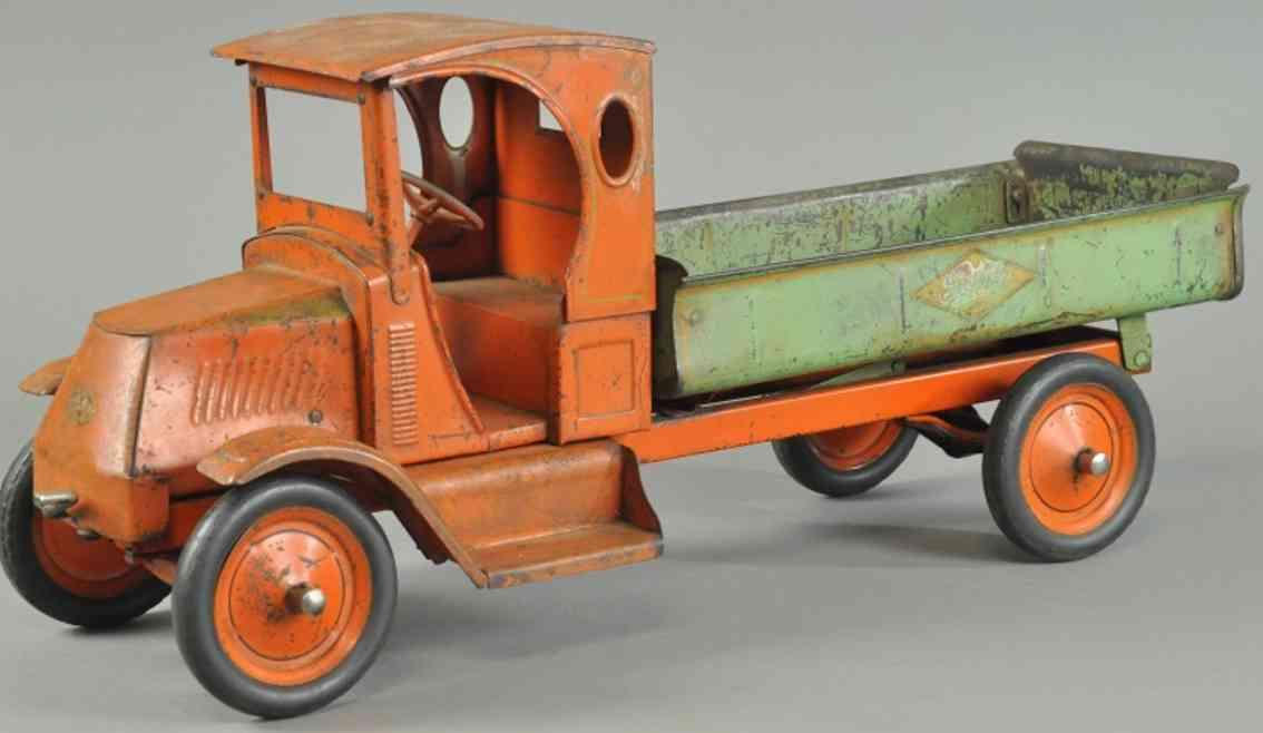 gendron wheel company spielzeug kipplastwagen stahlblech orange gruen