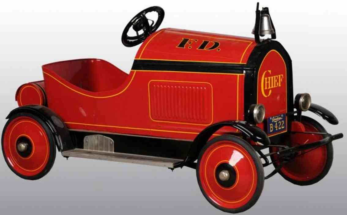 gendron wheel company pressed steel toy fire chief pedal car