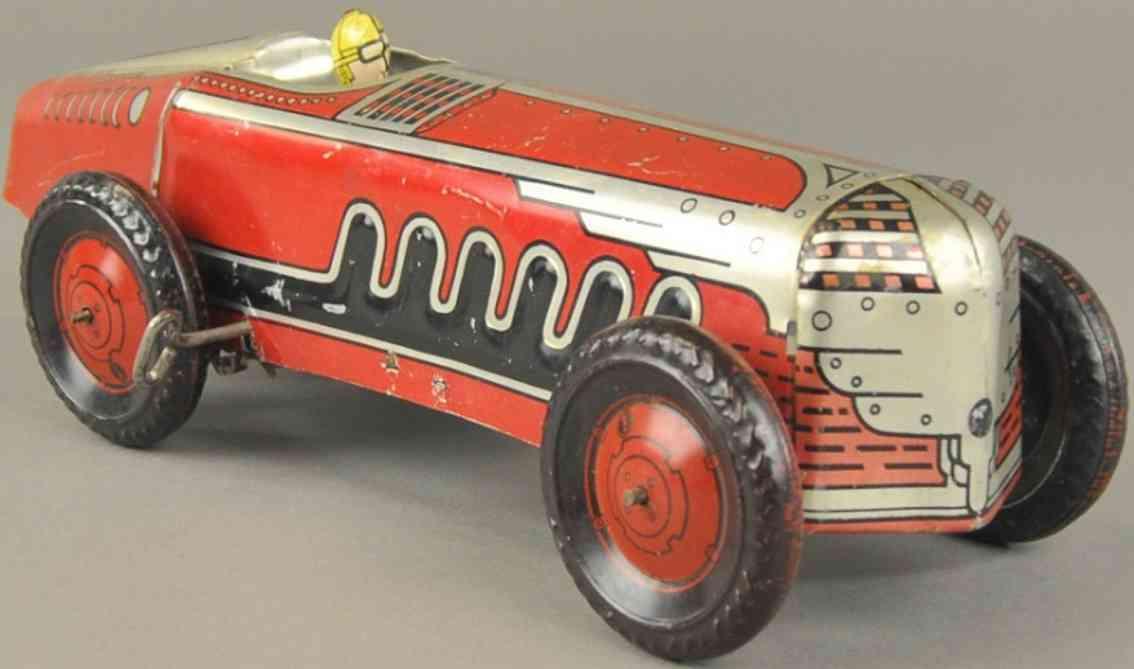 general toy product blech spielzeug rennauto wagen  uhrwerk fahrer rot