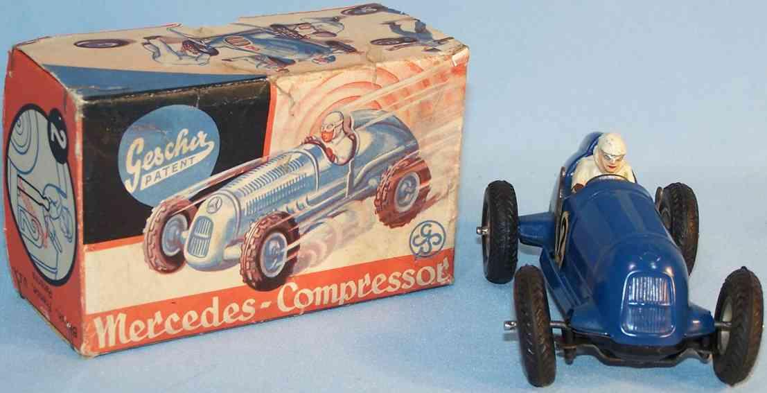 gescha 2 blech spielzeug rennauto mercedes rennwagen blau