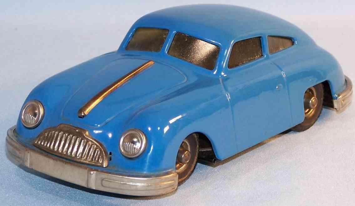 gescha 557 blech auto sixmobil porsche 356 uhrwerk blau rot