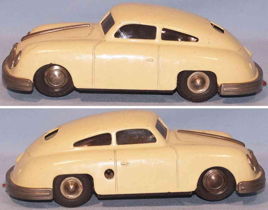 gescha 557 tin toy car sixmobil porsche 356 clockwork beige